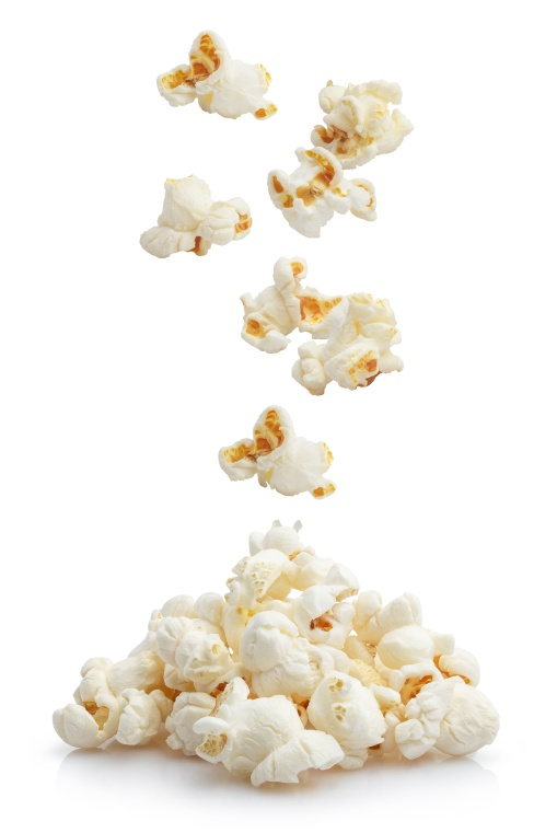 Falling popcorn, isolated on white background